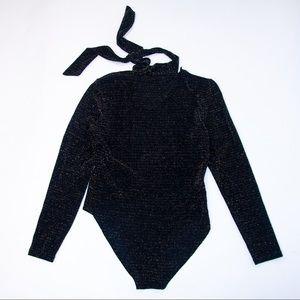 Tops - 1980's Glittering Bodysuit with Necktie